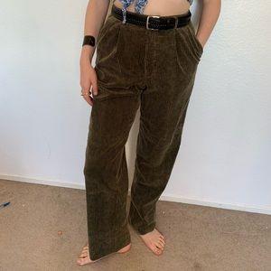 Dark Green Corduroy High Waist Pant